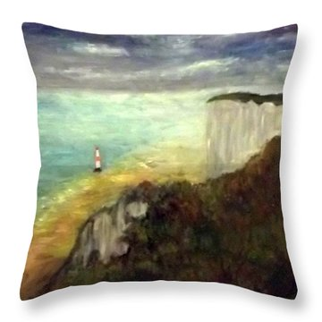 Sea, Cliffs, Beach And Lighthouse Throw Pillow