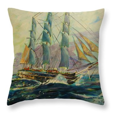Sea Clipper Throw Pillow