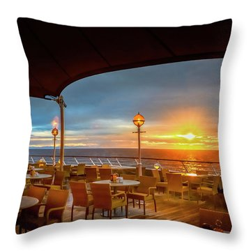Throw Pillow featuring the photograph Sea Cruise Sunrise by John Poon