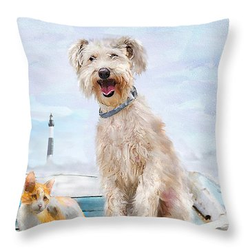 Throw Pillow featuring the digital art Sea Dog And Cat by Jane Schnetlage
