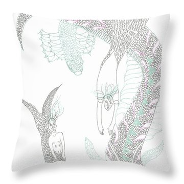 Sea Dragons And Mermaids Throw Pillow