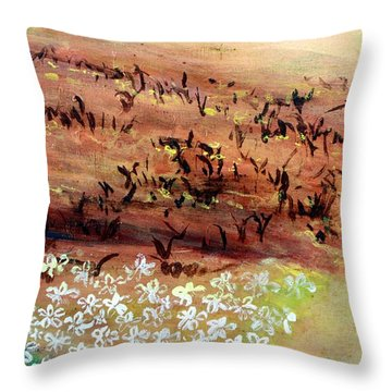 Throw Pillow featuring the painting Sea Earth  by Winsome Gunning
