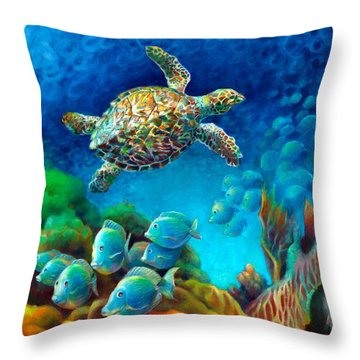 Sea Escape IIi - Gemstone Hawksbill Turtle Throw Pillow