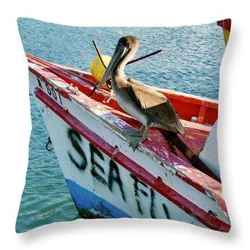 Throw Pillow featuring the photograph Sea Fly 1, Aruba by Monique Faella