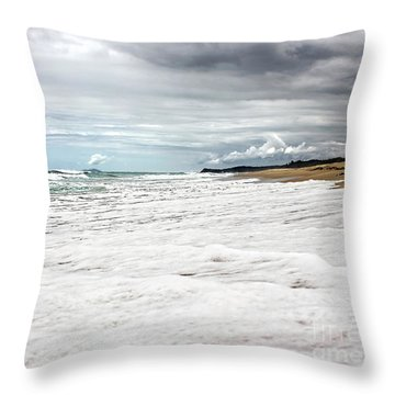 Throw Pillow featuring the photograph Sea Foam And Clouds By Kaye Menner by Kaye Menner