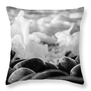 Sea Foam B-w Throw Pillow by Sergey Simanovsky