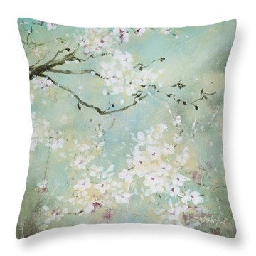 Sea Foam Throw Pillow by Laura Lee Zanghetti