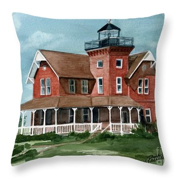 Throw Pillow featuring the painting Sea Girt Lighthouse by Nancy Patterson