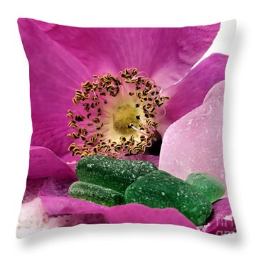 Sea Glass And Beach Rose Throw Pillow by Janice Drew