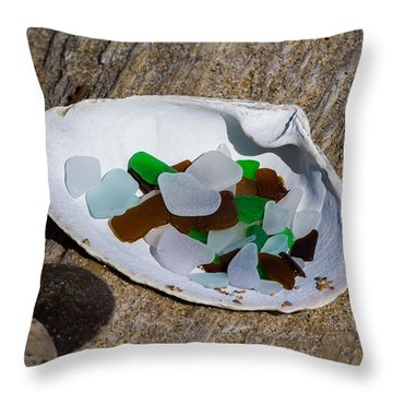 Sea Glass Treasure  Throw Pillow