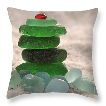 Sea Glass Tree Throw Pillow