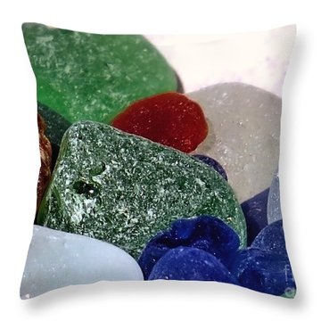 Sea Glass Up Close Throw Pillow