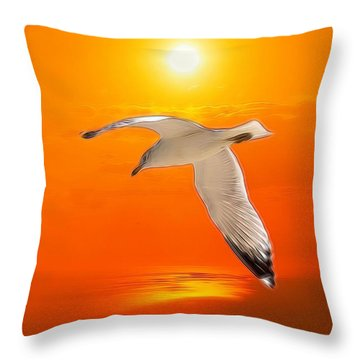 Throw Pillow featuring the photograph Sea Gull by Athala Carole Bruckner