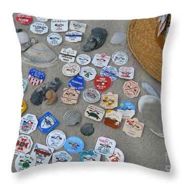 Sea Isle City Beach Tags Throw Pillow