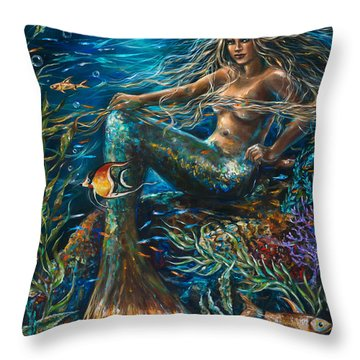 Sea Jewels Mermaid Throw Pillow by Linda Olsen