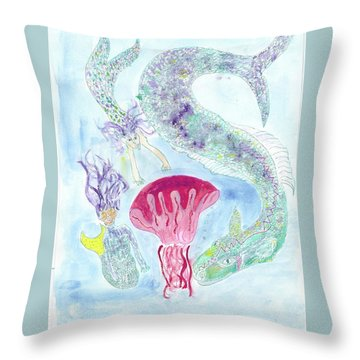 Sea Joys, Red Jelly Fish And Dragon Throw Pillow