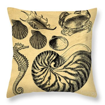 Throw Pillow featuring the drawing Sea Life Vintage Illustrations by Edward Fielding