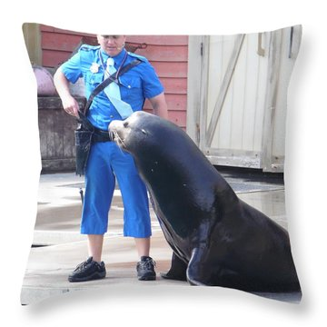 Sea Lion And Cop Throw Pillow