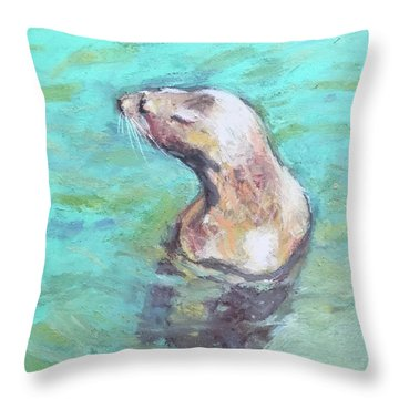 Sea Lion Throw Pillow by Yoshiko Mishina