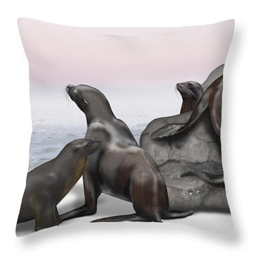 Sea Lion Zalophus Californianus - Marine Mammals - Seeloewen Throw Pillow