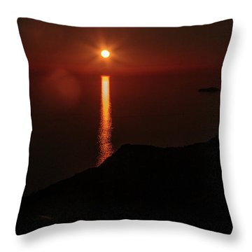 Sea, Mountains, Sunset, Sun Sinking Over The Horizon Throw Pillow