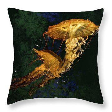 Throw Pillow featuring the digital art Sea Nettle Jellies by Thanh Thuy Nguyen
