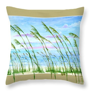 Sea Oats And Sea Throw Pillow