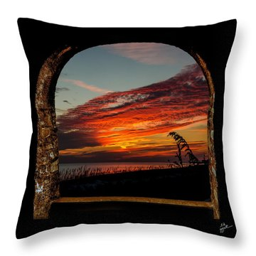 Sea Oats And Sunset Throw Pillow