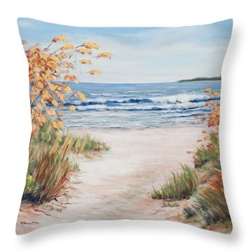 Sea Oats And Sunshine Throw Pillow