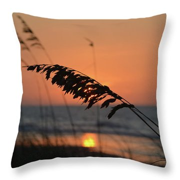 Sea Oats At Sunrise Throw Pillow by Gordon Mooneyhan