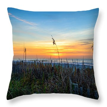 Sea Oats Sunrise Throw Pillow