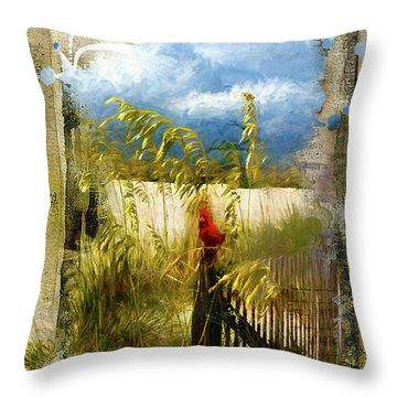 Sea Oats With Cardinal Throw Pillow