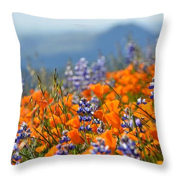 Sea Of California Wildflowers Throw Pillow by Kyle Hanson