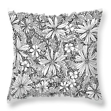Sea Of Flowers And Seeds At Night Horizontal Throw Pillow by Tamara Kulish