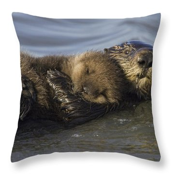 Sea Otter Mother With Pup Monterey Bay Throw Pillow by Suzi Eszterhas