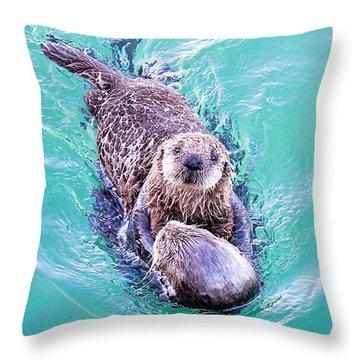 Sea Otter Pup Throw Pillow