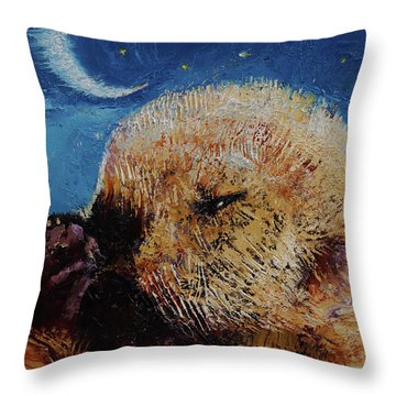 Sea Otter Pup Throw Pillow by Michael Creese