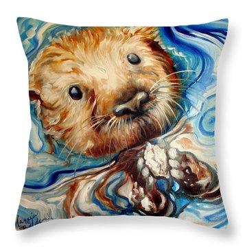 Sea Otter Swim Throw Pillow