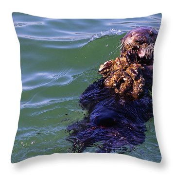 Sea Otter With Lunch Throw Pillow