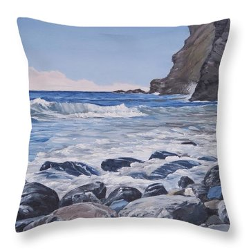 Throw Pillow featuring the painting Sea Pounded Stones At Crackington Haven by Lawrence Dyer