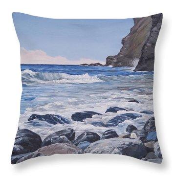 Sea Pounded Stones At Crackington Haven Throw Pillow