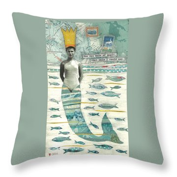 Sea Queen Throw Pillow by Casey Rasmussen White