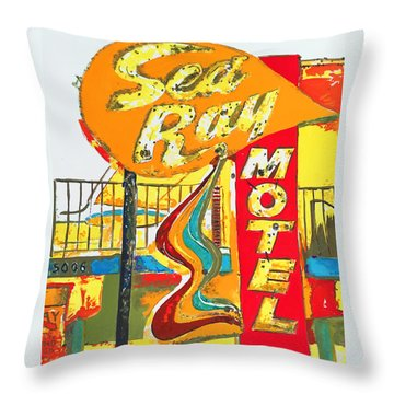 Sea Ray Motel Throw Pillow