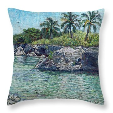 Sea Rocks And Coconuts Throw Pillow
