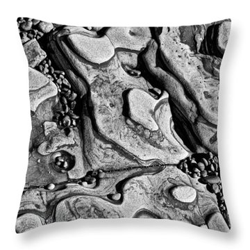 Sea Shaped Stones Throw Pillow by Garry Gay