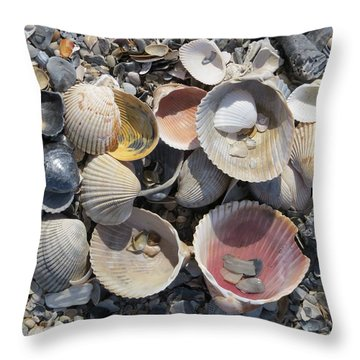 Sea Shell Mozaic Throw Pillow by Ellen Meakin