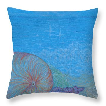 Throw Pillow featuring the drawing Sea Shore by Kim Sy Ok