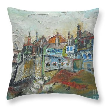 Sea Shore Village Throw Pillow
