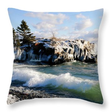 Sea Smoke At Hollow Rock Throw Pillow by Sandra Updyke