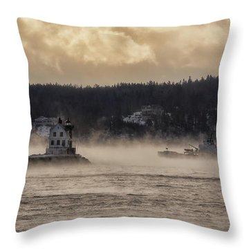 Sea Smoke At Rockland Breakwater Light Throw Pillow